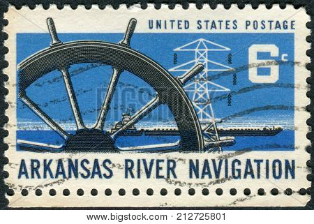 Usa - Circa 1968: Postage Stamp Printed In Usa, Dedicated To The Opening Of The Arkansas River To Co