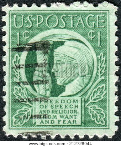 Usa - Circa 1943: Postage Stamp Printed In Usa, Shows Liberty Holding Torch Of Freedom & Enlightenme