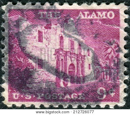 Usa - Circa 1956: Postage Stamp Printed In Usa, Shows The Alamo Mission In San Antonio, Circa 1956