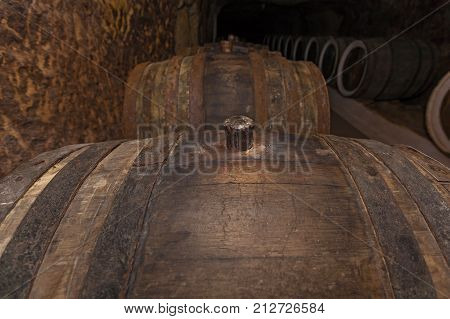 oak cork close ups, An old wine cellar with oak barrels, barrels for wine in old cellars