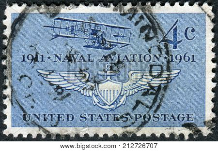 Usa - Circa 1961: Postage Stamp Printed In Usa, Dedicated To The 50Th Anniversary Naval Aviation, Sh