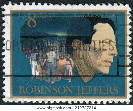 Usa - Circa 1973: Postage Stamp Printed In Usa, Shows Robinson Jeffers, Man And Children Of Carmel W