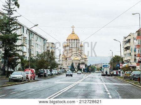 Fagaras Romania October 07 2017 : Mihai Eminescu Street - the central street of the Fagaras city in Romania