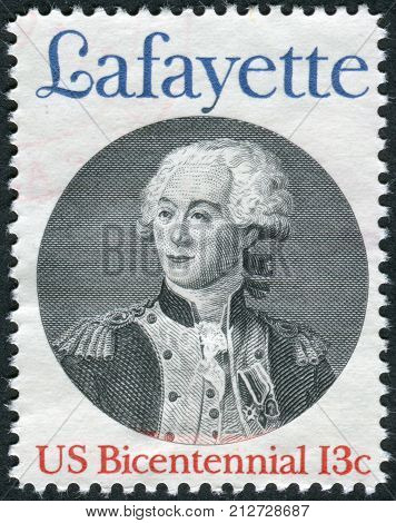 USA - CIRCA 1977: A postage stamp printed in the USA dedicated to the 200th anniversary of Lafayette's landing on the coast of SC north of Charleston shows the Marquis de Lafayette circa 1977