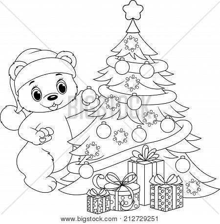 Polar bear decorates the Christmas tree Coloring Page