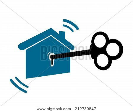 key and house keychain on a white background isolated
