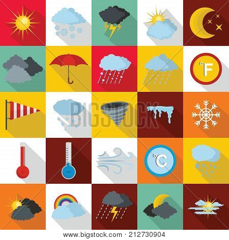 Weather icons set. Flat illustration of 25 weather vector icons for web