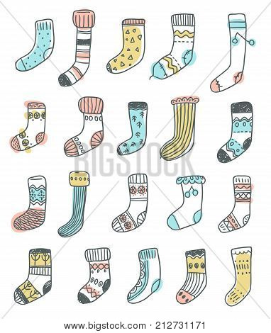 Collection of naive cute doodle socks. Scandinavian style. Sketchy craft simple style.
