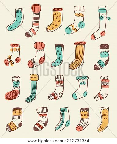Collection of naive cute doodle socks. Scandinavian style. Sketchy craft simple style. poster