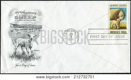 USA - CIRCA 1971: Postage stamp and envelope printed in the USA dedicated to 450th anniversary of the introduction of sheep to the No. American continent and the beginning of the American wool industry circa 1971