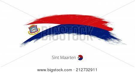 Flag Of Sint Maarten In Rounded Grunge Brush Stroke.