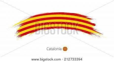 Flag Of Catalonia In Rounded Grunge Brush Stroke.