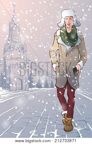 Winter travel destinations. Moscow. Young attractive man dressed in a sheepskin coat and fur hat with ear-flaps is walking down the Red Square in Moscow holding a phone. EPS10 vector illustration.
