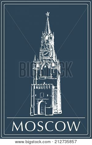 Spasskaya Tower in Moscow Kremlin drawn in a simple sketch style. Isolated contour on dark blue background. EPS8 vector illustration.