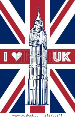 Big Ben drawn in a simple sketch style on the Union Jack - national flag of the UK. EPS8 vector illustration.