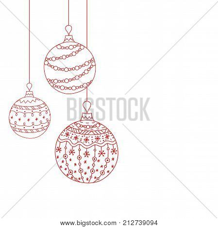 Vector Christmas invitation card from three red Christmas ball toys. Hand drawing Christmas tree ball toys
