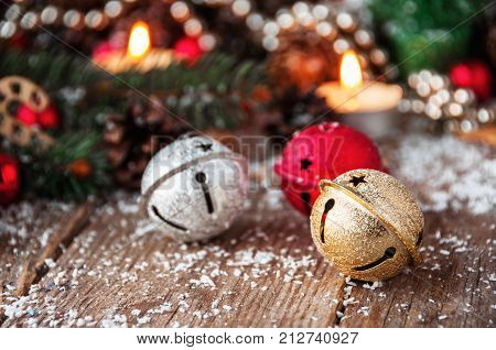 Jingle bells close-up. Christmas background. Happy New Year!