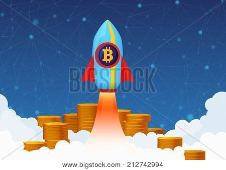 Vector Concept Illustration of Bitcoin growth with rocket and coins. Cryptocurrency Pump