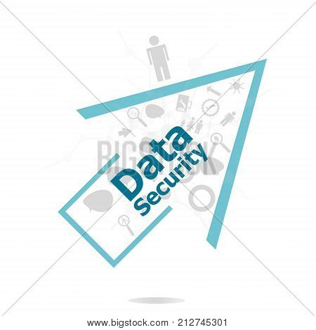 Text Data Security. Protection Concept . Data Protection And Secure Elements Inforgaphic Set