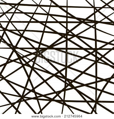 intersecting lines stripes, random grid, thickets of branches, vector Modern stylish pattern of mesh. Repeating abstract background