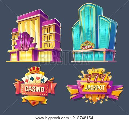 Set of vector cartoon badges, stickers, tags of modern and retro casino buildings and signboards. Icons for mobile applications with games of chance, advertising banners for gambling business in a vintage style.