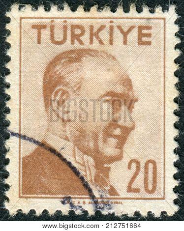 TURKEY - CIRCA 1956: Postage stamp printed in Turkey depicted the 1st President of Turkey Mustafa Kemal Pasha (Ataturk) circa 1956