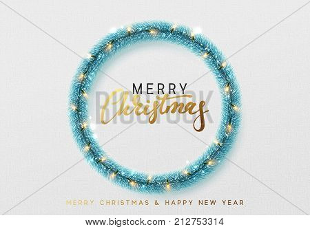 Glowing Christmas background. Design traditional Christmas decorations, blue tinsel, bright light garlands. Xmas holiday wreath, vector greeting card