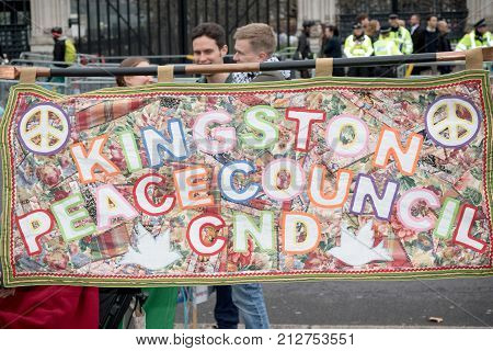 4th November 2017 London United Kingdom:-CND banner at a pro Palestine rally in Parliment square