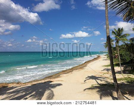 Beautiful view of the ocean. Waves, palm trees and white sand. Atlantic coast of Cuba. Varadero