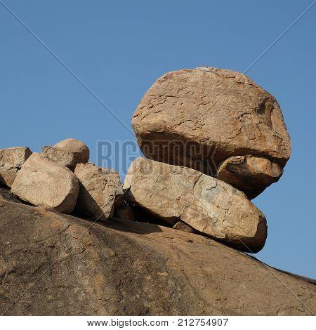 Granite boulder formation in Hampi. Scene in Karnataka, India.