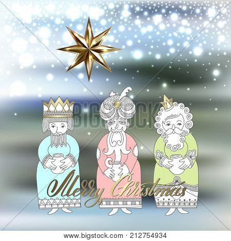 three kings for christian christmas holiday - Melchior, Gaspard and Balthazar, three wise men bring presents to Jesus with big star and merry christmas hand lettering, vector illustration