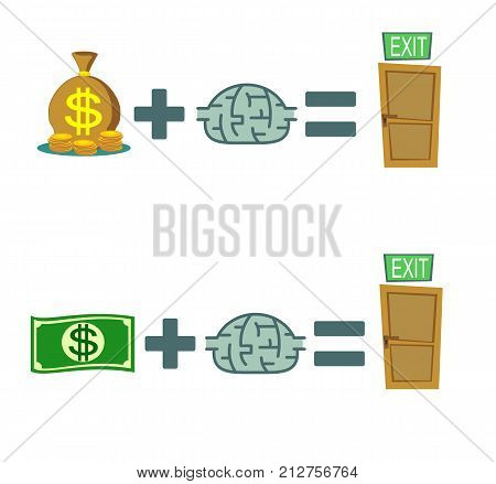 Way to exit. concept. Money and brain helps to find a way out. set. Stock flat vector illustration.