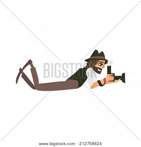 Hipster photographer, paparazzi taking pictures while lying on the floor, ground, cartoon vector illustration on white background. Professional photographer, photo journalist, reporter lying on ground