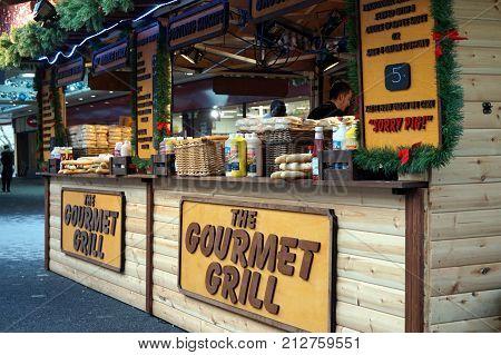 Basingstoke UK - January 4 2017: Specialist sausage and pork street food vendor