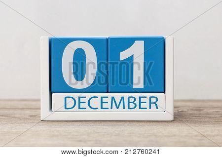 December 1st. Day 1 of december month, calendar on light background. Winter time.