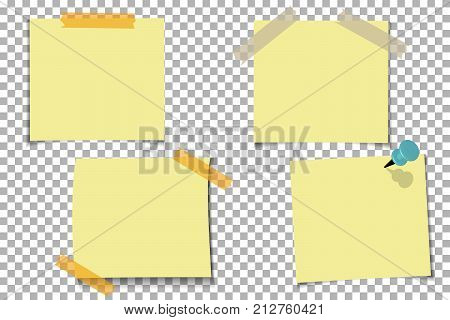 Set office Yellow paper note with sticky tape isolated on transparent background. Template for your projects. Vector