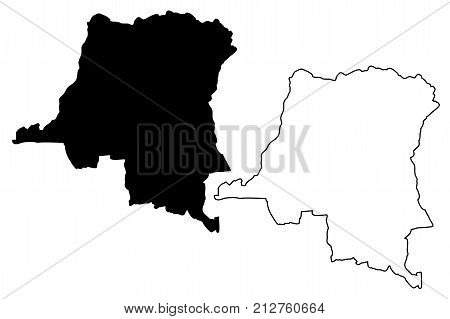 Democratic Republic of Congo map vector illustration , scribble sketch Congo