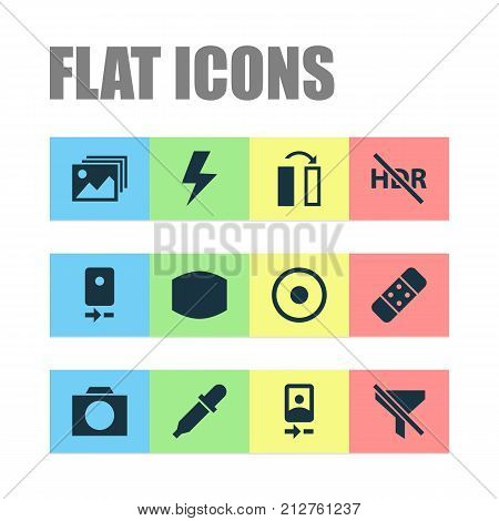 Photo Icons Set. Collection Of Pipette, Turn, Plaster And Other Elements