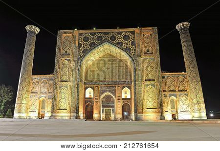 Samarkand: the night view of Registan madrasah