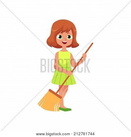 vector flat cartoon young housewife teen girl standing in green dress holding broom smiling sweeping floor. Isolated illustration on a white background. Child at home concept.