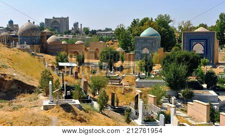 Samarkand: the shah-i-zinda ensemble domes and cemetery