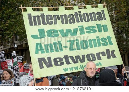4th November 2017 London United Kingdom:- Pro Palestine placards at a rally against the 1917 Balfour declaration