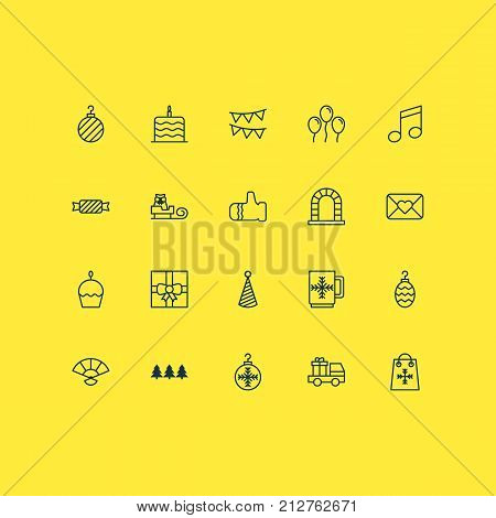 New Icons Set. Collection Of Crotchets, Christmas Ball, Christmas Toy And Other Elements