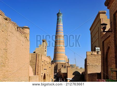 Khiva: people in the street of old town