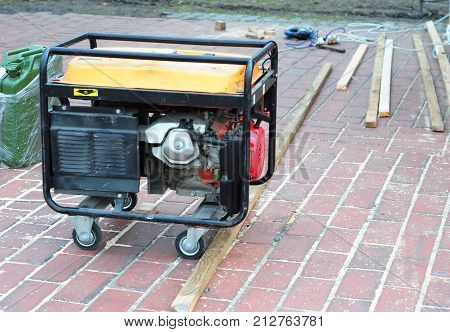 Standby generator for repair hurricane damage. Diesel generator for house.