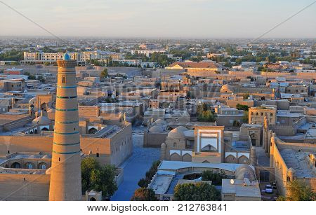 Khiva: view of the old town on sunset