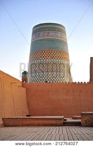 Khiva: view of the colorful medieval tower