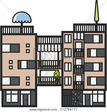 Modern apartments for rent and living in scandinavian style. Multi storied city house. Urban house in europe town scene. Helsinki family building. Ecological home.