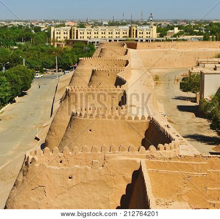 Khiva: view of the fortress wall of old town