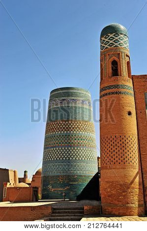 Khiva: view of the two old towers